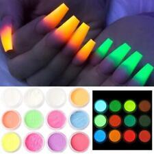 12 Colors Glow In Dark Glitter Nail Phosphorescent Powder Luminous x1