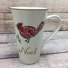 New listing 222 Fifth Porcelain Tall Latte Coffee Mug Noel Christmas Cardinal Bird gold trim