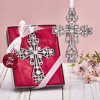 10-96 Silver Cross Ornament with Rhinestones - Religious Wedding Baptism Favors