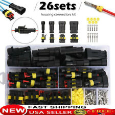 26 Sets Waterproof Car Auto Electrical Wire Connector Plug 1-4 Pin Way Plug Kits