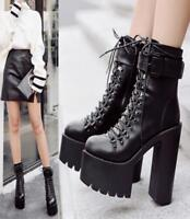 Womens Lace Up Platform Nightclub Knight Chunky Ankle Boots High Heel Shoes Hot
