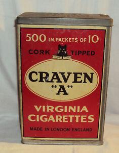 CRAVEN VERZINIA CIGARRETS VINTAGE TIN LITHO BOX CIRCA 1960 ENGLISH COLLECTION