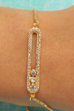 14k Yellow Gold Finish 1ctw Round Brilliant Tennis Bracelet Adjustable Size