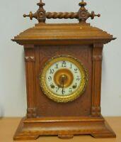 Ansonia mantel clock Sussex strike 8 day movement oak case