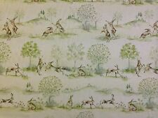 VOYAGE DECORATION BOXING HARES COUNTRY 3 PRINTED UK CURTAIN FABRIC RABBITS