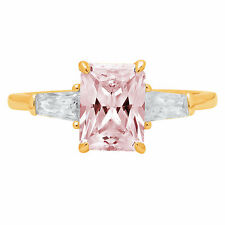 2 ct Emerald 3 stone Pink Stone Promise Bridal Wedding Ring 14k Yellow Gold