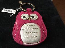 NWT Coach Magenta/White Suede Leather OWL Keychain/keyring/Keyfob/Charm #66658