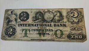 TWO DOLLARS/TEN SHILLINGS OBSOLETE NOTE  INTERNATIONAL BANK OF CANADA LOW GRADE