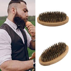 Mens Beard Brush Boar Bristle Beard Brush Moustache Wood Round Handle Natural