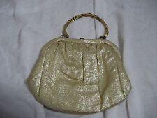 Vintage 1950s After Five Gold Lamè Metallic Bamboo Metal Handle Evening Bag Cute