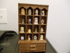 16 Souvenir Collectible THIMBLES/ Wooden Cabinet: Metal, Ceramic, Wood, Plastic