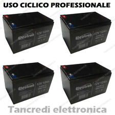 KIT 4 Batterie 12V 12AH GEL AL PIOMBO CICLICA DEEP CYCLE RICARICABILE 48V 15AH