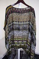 Newport News 100% Rayon Multi-Colored Butterfly Sleeve Top Size - Medium