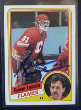 """1984-85 Topps AUTOGRAPH Rejean """"Reggie"""" Lemelin #25 AUTO FLAMES signed"""