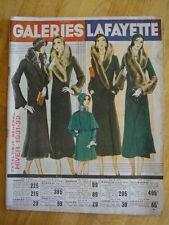 HIVER 1931 CATALOGUE GALERIES LAFAYETTE MODE BONNETERIE TISSUS CHAUSSURES ETC ..