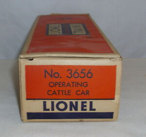 LIONEL OPERATING CATTLE CAR 3656 ORIGINAL ORANGE BOX ONLY
