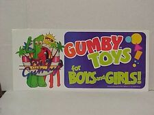 Gumby 1988 Store Display Window Sign  Gordy Toys