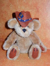 "Original Brass Bear Button Teddy Cowboy Cody 9"" Sitting Brown Stuffed Plush"