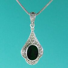 Classical Sterling Silver Black Onyx & Marcasite Pendant on Chain