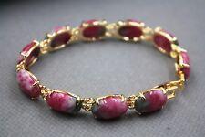 New Fashion GP Alloy Red Jade Women's Oval Link Bracelet 7inch