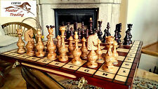 EXCLUSIVE ''SALVATOR'' CHERRY WOODEN CHESS SET 55x55!SUPERB CHESS BOARD & PIECES