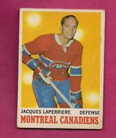 1970-71 OPC # 52 CANADIENS JACQUES LAPERRIERE VG+  CARD  (INV# A7324)