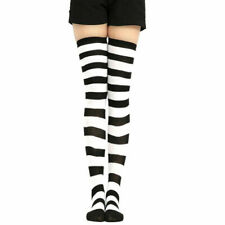 Womens Girls Over The Knee Striped Socks High Thigh Stretchy Fancy Long Socks