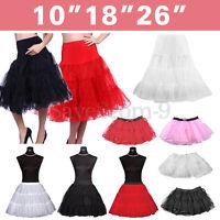 """10""""18""""26""""Hoopless Retro Underskirt Fancy Tutu Net Skirt Petticoat Rockabilly UK"""