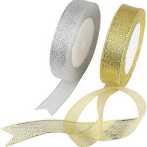 Metallic Organza Ribbon - 15mm - Silver / Gold - From 23p per M - Gift, Wedding