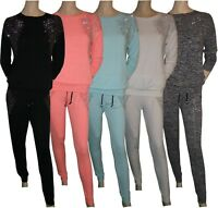 Ladies Womens Diamante Wings Marl 2 Piece Track Suit Joggers Activewear 10 to 16