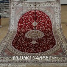 Yilong 6'x9' Classic Silk Area Rug Hand Knotted Red Carpets Hand made Sale 1205