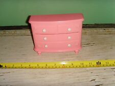 Pink plastic fashion doll beautiful house roses dresser drawers Opens furniture