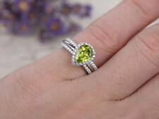 14k white gold over pear peridot diamond engagement half eternity Stacking ring