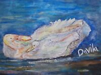 "ORIGINAL ""MOM & BABY DUCK IN A POND"" ABSTRACT WATERCOLOR PAINTING US ART, 9""X12"""