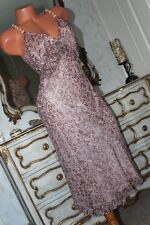 (Ref 14) NOUGAT London 100% pure silk  bias cut lined A line pink dress size 10