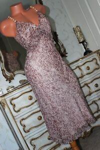 (Ref 14) NOUGAT London 100% pure silk  bias cut lined A line pink dress size 10