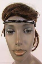 Women Head Fashion Jewelry Elastic Band Black Forehead Silver Hair Bling Sexy