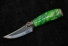 UNIQUE N690 STEEL CUSTOM HANDMADE KNIFE ACRYLIC PEARL *HUNTING SNAKE*