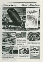 1945 Chevron Aviation Gasoline Ad United Air Lines Mainliners Douglas DC-4 DC-6