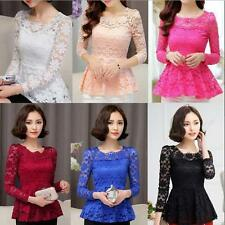 6 Color Women Long Sleeve Lace Fabala Shirts Blouses Solid Slim Casual Tops Sexy