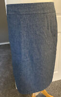 M&S Blue Herringbone Wool Blend Skirt Lined Uk 16 Size Pockets Knee Length