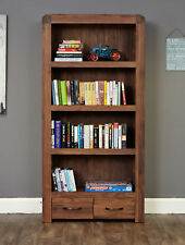 Shiro Premium Dark Wood 4 Shelf Bookcase 2 Drawers Large Display Solid Walnut