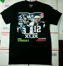 Super Bowl XLIX T-Shirt New England Patriots vs. Seattle Seahawks Black small