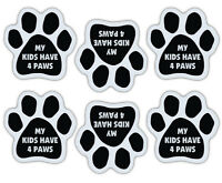 Mini Paw Magnets (Set of 6) - Kids Have 4 Paws - Dog or Cat - Car, Refrigerator
