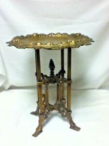 Antique cast iron stand metal cherub decorative pedestal plant statue vase old