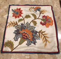 """Vtg~Embroidered Floral Polyester Accent Pillow Case 18"""" A Journey To India"""