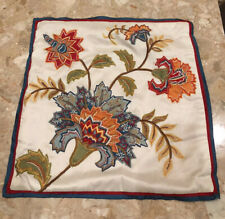 "Vtg~Embroidered Floral Polyester Accent Pillow Case 18"" A Journey To India"