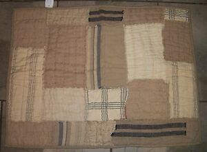 930   Noble Excellence Beige & Gray Patchwork STANDARD Pillow Sham Case Cover