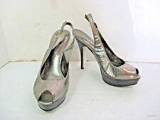 Women's Shoes - ENZO ANGIOLINI Silver Snakeskin Peep Toe Slingback Pump 6 1/2 M