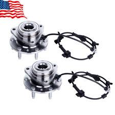 Front Wheel Hub & Bearing Pair Set For 02-09 GMC Trailblazer Envoy w/ ABS 6 Lug